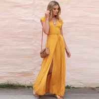 Sexy dress women Boho Dot Long Dress V-Neck Lady Beach Summer dress Sundrss Maxi Dress for women