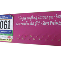 Medals and bibs display - running medals and race bibs holder - running medals and race bibs hanger - running heart