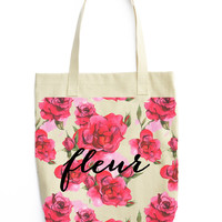 Red Rose & Fleur Canvas Tote - Cotton Canvas Tote Bag - Market bag - Farmers Market bag - welcome bag - wedding gift - Preppy flowers french