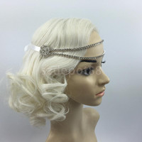 Vintage 1920s Headpiece Fascinators Flapper Crystal Head Chain Hairband Great Gatsby Fancy Headdress Headband
