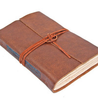 Brown Leather Journal / Handmade Journal / Rustic Journal / Tea Stained Paper /BoundByHand / Ready to Ship