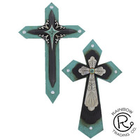 Turquoise Wood Look Double Cross 2/A