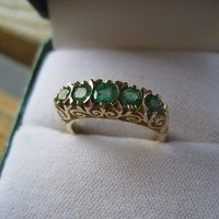 Emerald 9K Y Gold 5 Stone Ring Filigree Fine