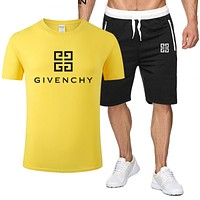 GIVENCHY Popular Men Leisure Print T-Shirt Top Shorts Sport Set Two-Piece Yellow