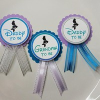 Mermaid Baby Shower Pin, Turquoise Purple for daddy to be or grandma to be to wear at Baby Shower or Baby Sprinkle - Custom Made