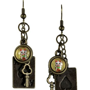 Lucky Cat Charm Earrings