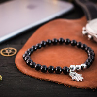 Black onyx beaded stretchy bracelet with silver micro pave Hamsa hand charm, made to order bracelet