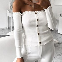 White Ribbed Off Shoulder Button Placket Front Long Sleeve Sweater
