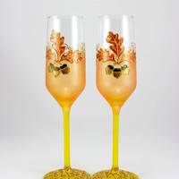 Fall Wedding, Autumn Toasting Flutes, Autumn Wedding Glasses, Oak Leaf, Acorns