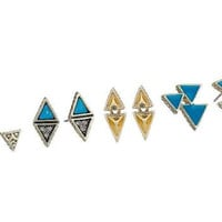 House of Harlow Tessellation Earring Set- Gold/Turquoise- FINAL SALE