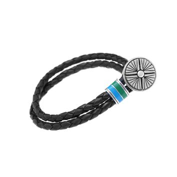 Gather Dust to Build a Mountain Sterling Silver & Enamel Leather Bracelet