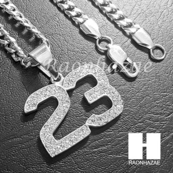 316L Stainless steel Silver Bling Number 23 w/ 5mm Cuban Chain SG5