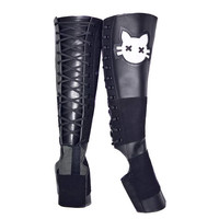 Isabella Mars Black Aerial Boots w/ White Cat eye face appliques Leather & Suede Circus Trapeze gaiters for aerial hoop, lyra, rope