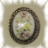Flowers Vintage Brooch,  Pendant, Purple, Yellow, White Transfer vintage  jewelry