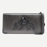 Metal Deer Head Accent Faux Leather Wallet - Champagne