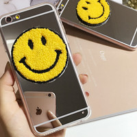 Cute Cosmetic Mirror Smiling Face Case Cover for iPhone