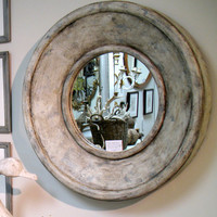 Painted Wood Round Mirror