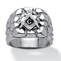 Men's Mason Signet Nugget with Blue Enamel Accent Ring in Stainless Steel