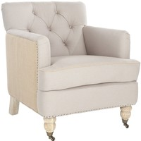 Colin Tufted Club Chair Taupe/ Beige
