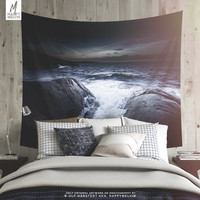 Moody Sea Tapestry | Ocean Wall Tapestry | Nature Photography | Wall Hanging | Waves | Sunset | Boho Wall Decor | Dorm Room | Large | Gift