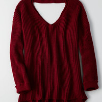 Don't Ask Why Slouchy Deep V Sweater, Twilight Red