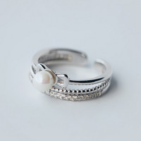 Fashion zircon pearl 925 Sterling Silver opening ring ,a perfect gift