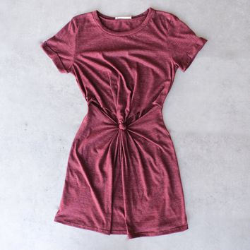 knot it knot-front t-shirt dress - burgundy