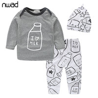 Baby Boys Clothes Set 2017 New Spring Autumn Newborn Baby Girl Clothing Long Sleeve T Shirt +Pant + Hat 3PCS/Set FF034