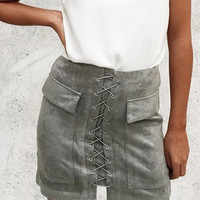 Strappy Lace Up Faux Suede Front Pencil Mini Gray Skirt