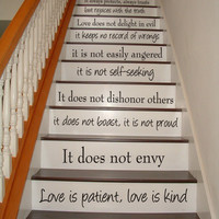 Love is Patient, Love is Kind - 1 Corinthians 13 - STAIR CASE - Bible Art Wall Decals Wall Stickers Vinyl Decal Quote