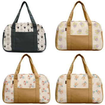 Womens Vintage Roses Printed Canvas Duffel Travel Bags WAS/_19
