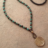 Patience and Truth, Onyx and Turquoise Beaded Necklace with Tibetan Pendant, 108 Bead Mala