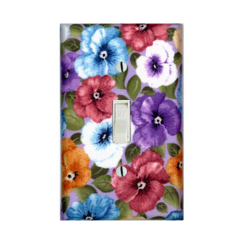 Colorful Pansy Flowers Light Switch Cover Switchplate Switch Plate Floral Home Decor