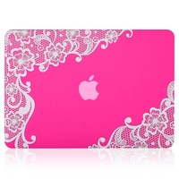 """Kuzy - Retina 13-inch Lace Neon PINK Rubberized Hard Case for MacBook Pro 13.3"""" with Retina Display A1502 / A1425 (NEWEST VERSION) Shell Cover - Lace Neon PINK"""