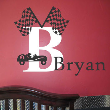 Race Car Silhouette Personalized Boy Name Initial Vinyl Wall Lettering Decal Set
