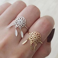 1 Pc Vintage Women Lady Dreamcatcher Gold Silver Color Ring Metal Feather Charm Pendant Dream Catcher Wish Ring