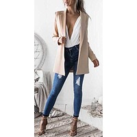 Fashion New Ladies Women Casual Long Sleeve Suit Coat Business Long Blazer Lady Temperament Long Outwear