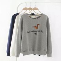 Squirrel Letter Embroidered Sweater