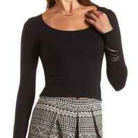Long Sleeve Cotton Crop Top by Charlotte Russe