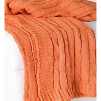 Favorite Cable Knit Orange Throw
