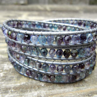 Beaded Leather 4 Wrap Bracelet with Sapphire Amethyst Czech Glass Beads on Hematite Leather