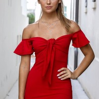 All About Attention Red Off the Shoulder Dress