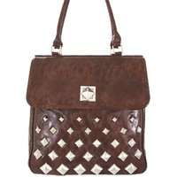 Hot! Pyramid Stud Faux Leather Handbag w/ Purse Shoulder Strap Brown
