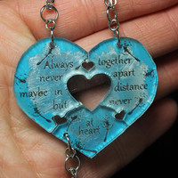 Friendship heart puzzle pendants 3 piece set Blue and Silver Always together friend quote