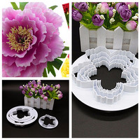 4Pcs/Set Peony Durable Fondant Embosser Cake Cutter Mold Cookie Decorating fandont Baking & Pastry Tools