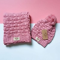 "Tiktoki1 ""UGG"" Winter Popular Women Men Knit Warmer Hat Cap Scarf Two Piece Set Pink"