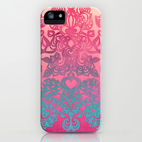 Ombre Canvas Folk Art Doodle in aqua, pink & peach iPhone & iPod Case by micklyn