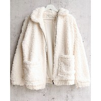 Final Sale - Everly - Glamorous Faux Sherpa Teddy Coat in Ivory