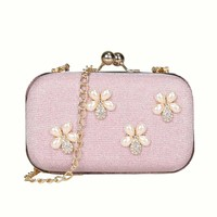 Women Girls Floral Beaded Clutch Bags Handbags Fabric Evening Party Wedding Shoulder Purses