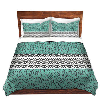 River Aqua Path Bed Duvet Cover in Gray and Teal – For Twin, Queen and King Size Beds